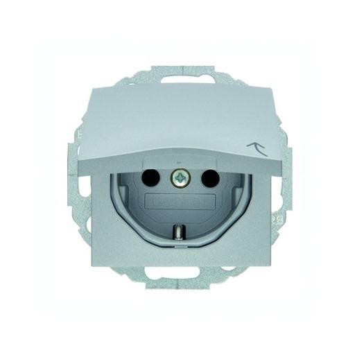 Steckdosen-Einsatz mit Klappdeckel und Berührungsschutz alu matt Berker