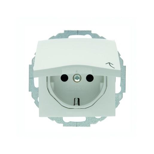 Steckdosen-Einsatz mit Klappdeckel und Berührungsschutz polarweiß glänzend Berker