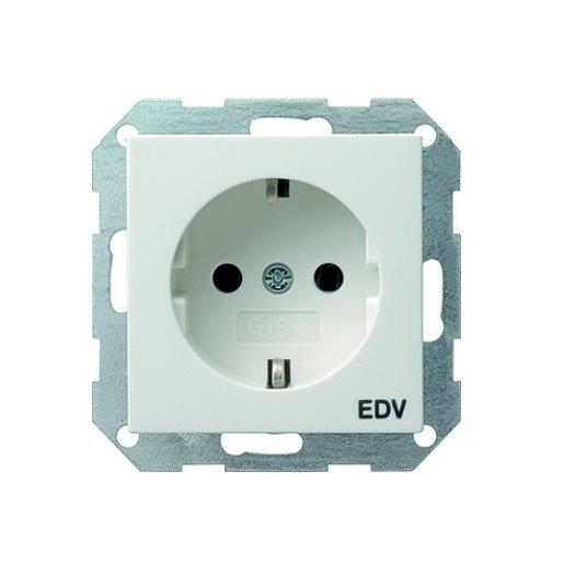 Steckdosen-Einsatz Aufdruck EDV reinweiß glänzend Gira
