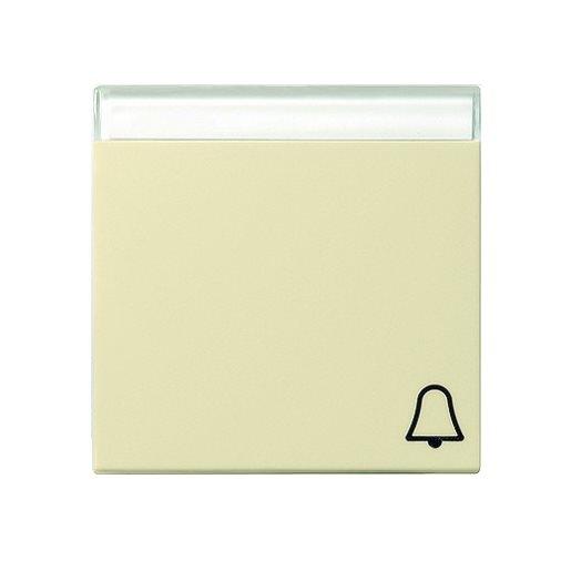 Wippe Symbol Klingel cremeweiß glänzend Beschriftungsfeld Gira