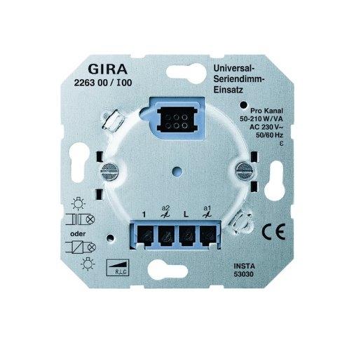 Universal-Serien-Dimmer-Einsatz 2x 50 - 260 W Gira