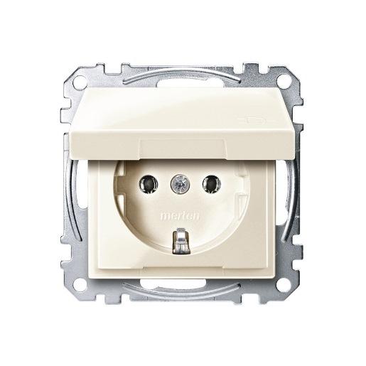 Steckdosen-Einsatz mit Klappdeckel weiß glänzend Merten