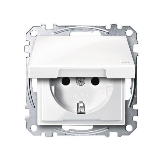 Steckdosen-Einsatz mit Klappdeckel IP44 polarweiß glänzend Merten
