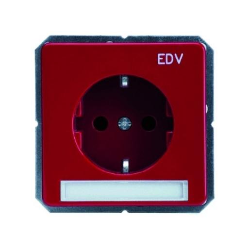 Steckdosen-Einsatz mit Schriftfeld und Aufdruck EDV rot Schneider ELSO