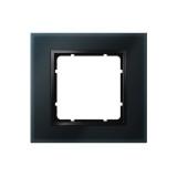 Abdeckrahmen 1-fach Glas schwarz/anthrazit matt Berker B.7