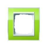 Abdeckrahmen 1-fach Event Klar grün Zwischenrahmen reinweiß glänzend Gira