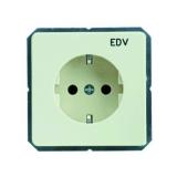 Steckdosen-Einsatz mit Aufdruck EDV perlweiß Schneider ELSO